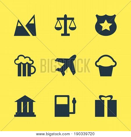 Vector Illustration Of 9 Location Icons. Editable Pack Of Cake, Aircraft, University And Other Elements.
