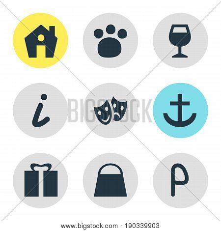 Vector Illustration Of 9 Map Icons. Editable Pack Of Pet Shop, Handbag, Home Elements.