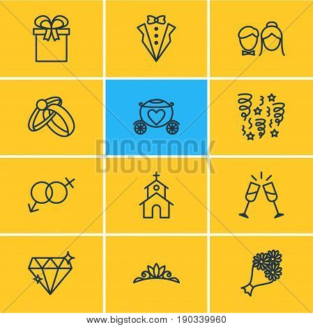 Vector Illustration Of 12 Engagement Icons. Editable Pack Of Engagement, Decoration, Wineglass And Other Elements.
