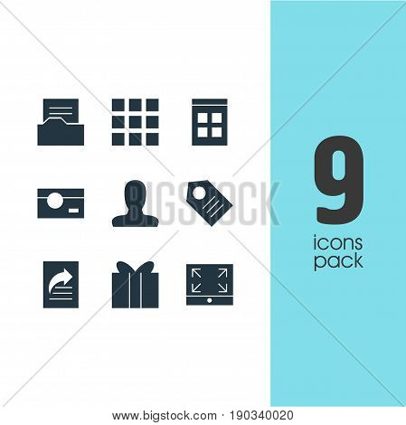 Vector Illustration Of 9 Internet Icons. Editable Pack Of Maximize, Date Time, Grid And Other Elements.