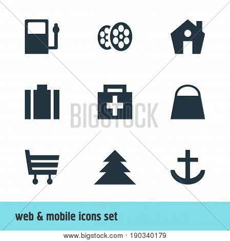 Vector Illustration Of 9 Map Icons. Editable Pack Of Jungle, Home, Film And Other Elements.