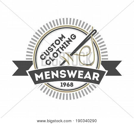 Custom clothing menswear vintage isolated logo. Handcrafted store badge, premium quality atelier vector illustration in monochrome style.