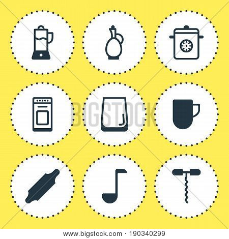 Vector Illustration Of 9 Restaurant Icons. Editable Pack Of Soup Spoon, Steamer, Carafe And Other Elements.