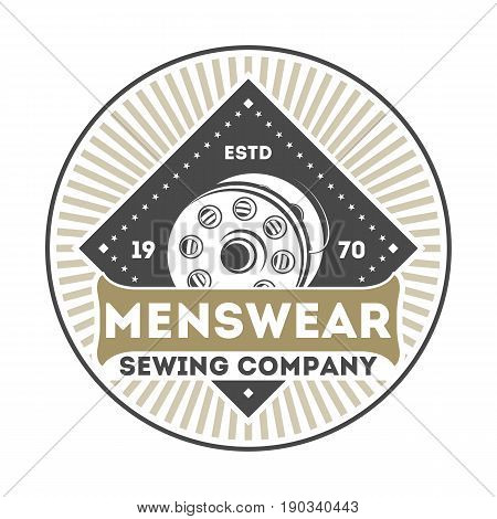 Menswear company vintage isolated label. Handcrafted store badge, custom clothing atelier vector illustration in monochrome style.