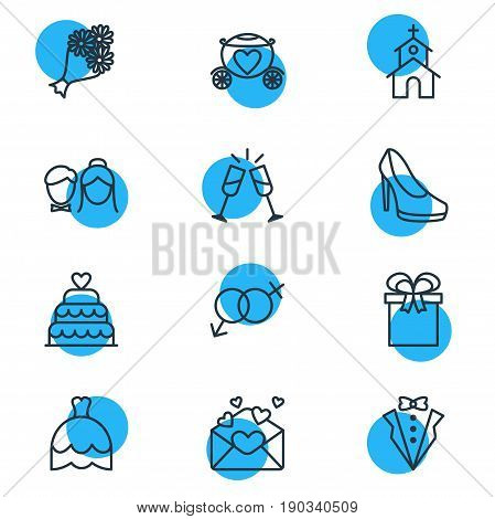 Vector Illustration Of 12 Marriage Icons. Editable Pack Of Building, Bridegroom Dress, Patisserie And Other Elements.