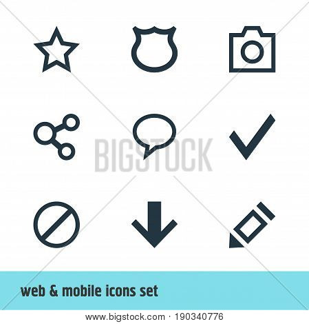Vector Illustration Of 9 Member Icons. Editable Pack Of Shield, Asterisk, Confirm And Other Elements.