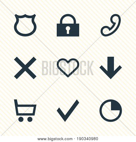 Vector Illustration Of 9 Member Icons. Editable Pack Of Downward, Shield, Handset Elements.