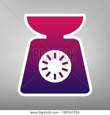 Kitchen scales sign. Vector. Purple gradient icon on white paper at gray background.