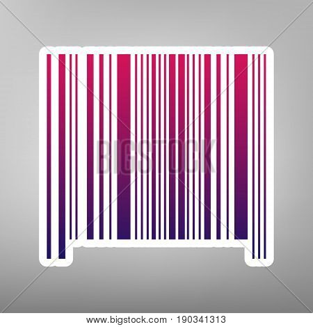 Bar code sign. Vector. Purple gradient icon on white paper at gray background.