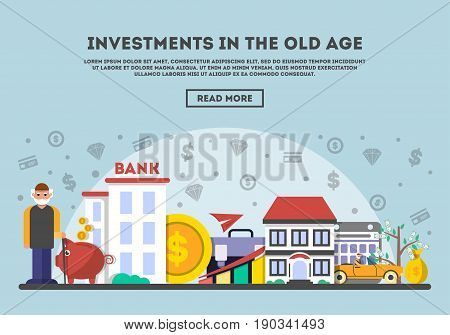 Investments in the old age vector illustration. Design concept for smart investment, finance and banking, securities and commercial real estate, strategic management, financial analysis and planning.