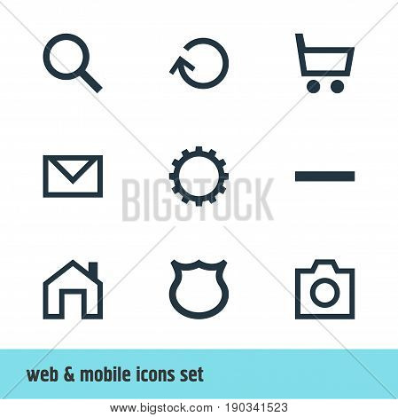 Vector Illustration Of 9 User Icons. Editable Pack Of Shield, Cogwheel, Mainpage And Other Elements.