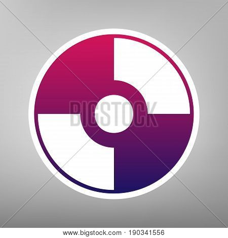 Vector CD or DVD sign. Vector. Purple gradient icon on white paper at gray background.