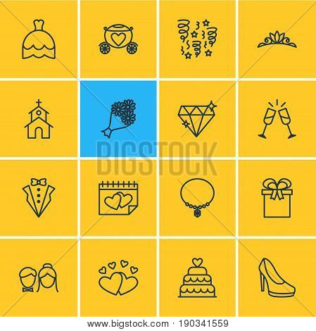 Vector Illustration Of 16 Marriage Icons. Editable Pack Of Calendar, Bridegroom Dress, Love And Other Elements.