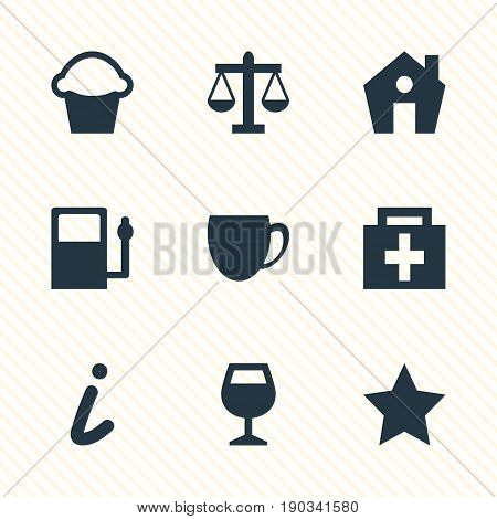 Vector Illustration Of 9 Map Icons. Editable Pack Of Bookmark, Scales, Map Information And Other Elements.