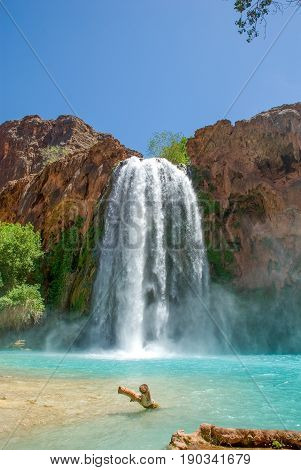 World famous Havasu Falls shot taken from the bottom of the falls.