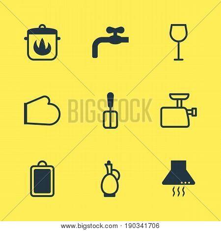 Vector Illustration Of 9 Restaurant Icons. Editable Pack Of Mincer, Oven Mitts, Extractor Appliance And Other Elements.