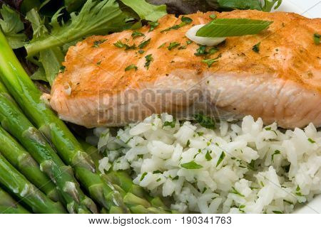 Gourmet Dinner featuring a salmon filet rice pilaf asparagus and mixed greens Shallow depth of field
