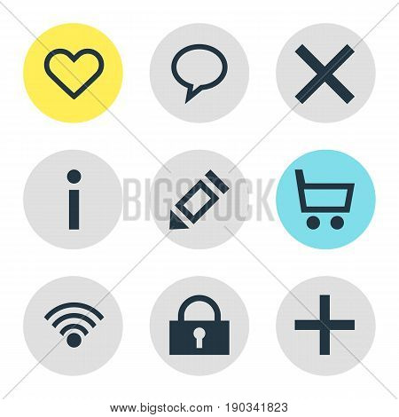 Vector Illustration Of 9 Member Icons. Editable Pack Of Heart, Plus, Info And Other Elements.
