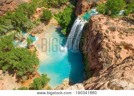 Havasu Falls in the daytime from the mesa above the falls. Wonderfull shadow from the sunlight in the spring.