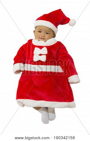 Asian cute new born baby with costume santa merry christmas xmas on white background.