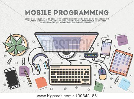 Mobile programming top view banner in line art style vector illustration. Desktop computer, smartphone, tablet, headphones. Mobile application development, software coding, testing and debugging.