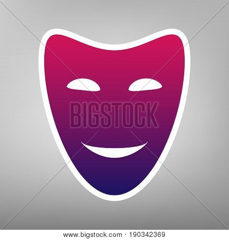 Comedy theatrical masks. Vector. Purple gradient icon on white paper at gray background.