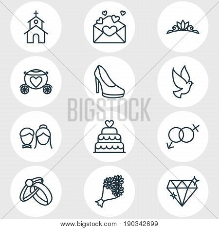 Vector Illustration Of 12 Engagement Icons. Editable Pack Of Chariot, Sexuality Symbol, Patisserie And Other Elements.
