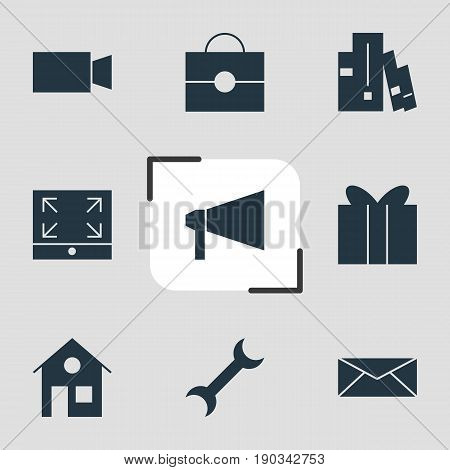 Vector Illustration Of 9 Online Icons. Editable Pack Of Bookshelf, Letter, Bullhorn And Other Elements.