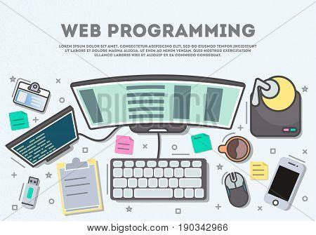 Web programming top view banner in line art style vector illustration. Desktop computer, smartphone, usb drive, mouse. Website development, seo, software coding, web design, testing and debugging.