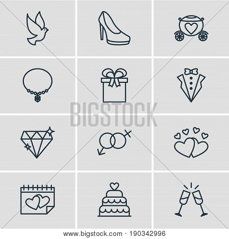Vector Illustration Of 12 Marriage Icons. Editable Pack Of Sandal, Love, Wineglass Elements.
