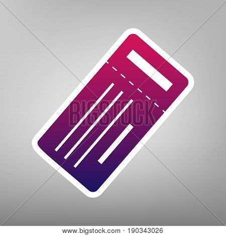 Ticket simple sign. Vector. Purple gradient icon on white paper at gray background.