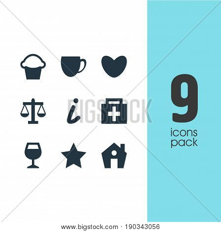 Vector Illustration Of 9 Location Icons. Editable Pack Of Coffee Shop, Heart, Cake And Other Elements.