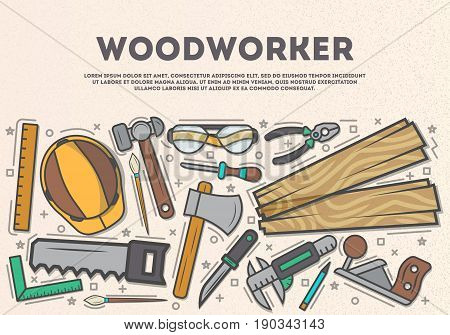 Woodworker top view banner in line art style vector illustration. Carpentry professional services, forest product, wood industry. Woodworking tools, plane, hammer, saw, ax, ruler, pliers, chisel.
