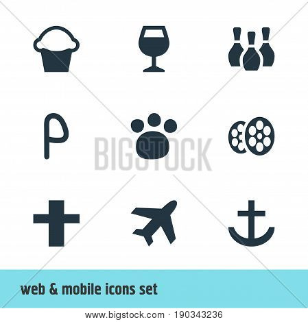 Vector Illustration Of 9 Location Icons. Editable Pack Of Aircraft, Cross, Pet Shop And Other Elements.
