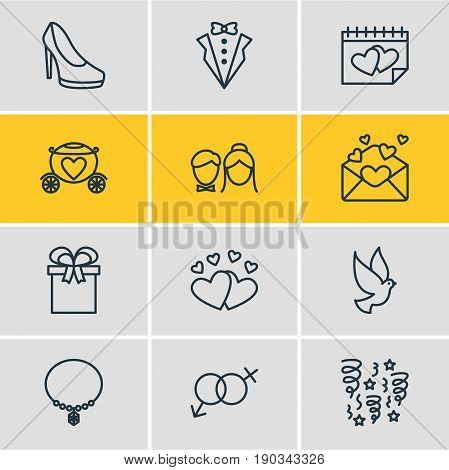 Vector Illustration Of 12 Marriage Icons. Editable Pack Of Bridegroom Dress, Jewelry, Chariot And Other Elements.