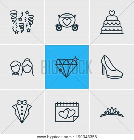 Vector Illustration Of 9 Engagement Icons. Editable Pack Of Calendar, Decoration, Bridegroom Dress And Other Elements.