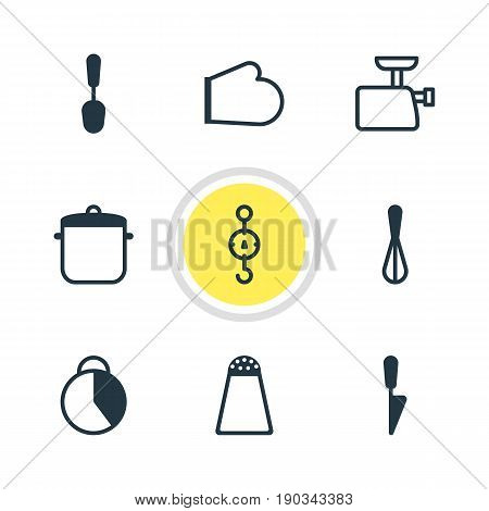 Vector Illustration Of 9 Restaurant Icons. Editable Pack Of Mincer, Soup Pan, Timekeeper And Other Elements.