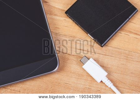 Smartphone, Plug Of Charger And Telephone Battery, Telephone Charging
