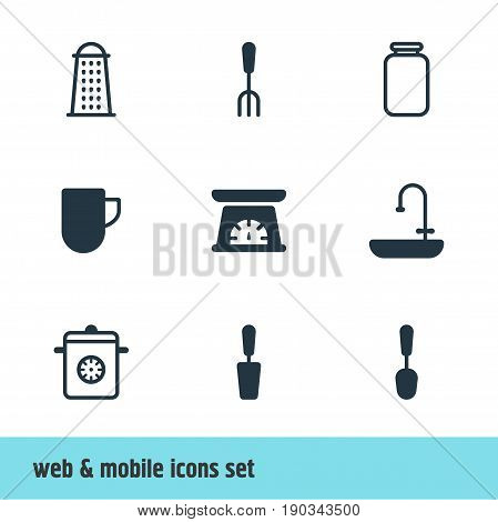 Vector Illustration Of 9 Kitchenware Icons. Editable Pack Of Slicer, Steamer, Measuring Tool And Other Elements.