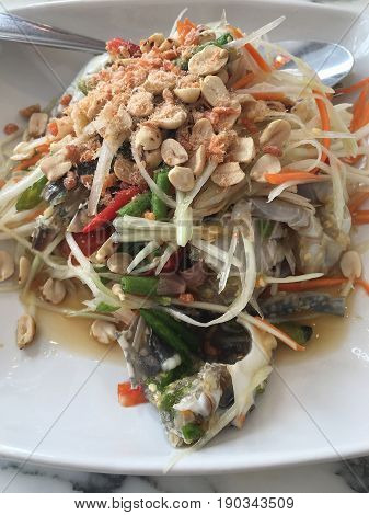 Blue crab som tum thai Blue crab papaya salad food thai style.