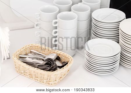 Group of empty coffee cups. White cup for service tea or coffee in breakfast or buffet and seminar event. Catering and Cocktail