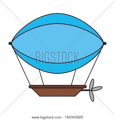 blue dirigible over white background vector illustration design