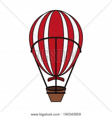red and white hot air balloon over white background vector illustration design