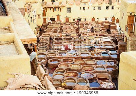 Fez Morocco - Jan 14 2017: Chouwara Leather traditional tannery in ancient medina of Fes El Bali