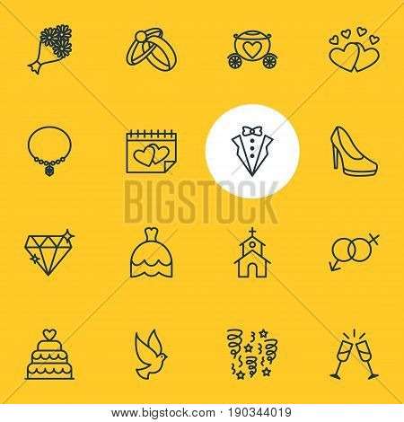 Vector Illustration Of 16 Engagement Icons. Editable Pack Of Calendar, Bridegroom Dress, Engagement And Other Elements.