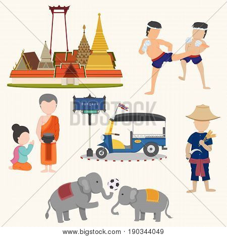 Unseen Thailand travel signs isolated on white background illustration vector