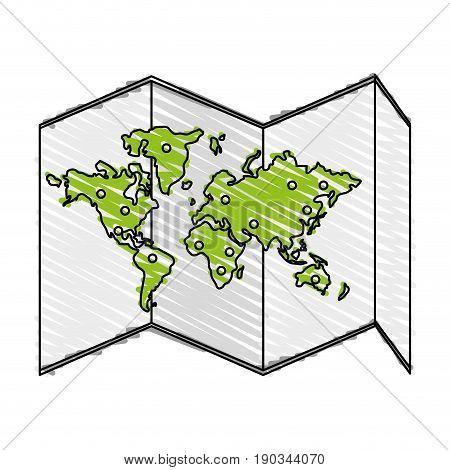 world map doodle over white background vector illustration design