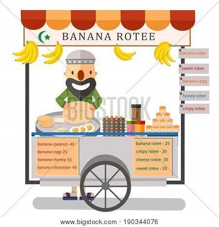 Street food rotee vendor in Bangkok Thailand illustration vector
