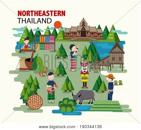 Northeastern Thailand called Isan region with their culture and identity in flat style illustration vector