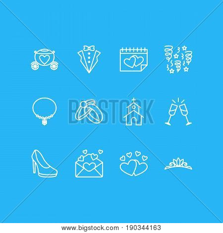 Vector Illustration Of 12 Engagement Icons. Editable Pack Of Engagement, Love, Card And Other Elements.